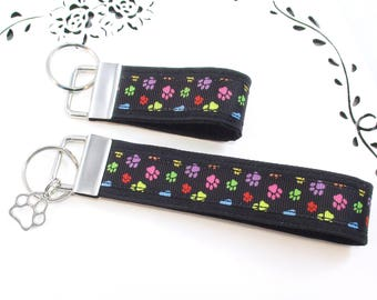 Cat Keychain, Black Dog Key Chain, Paw Print Key Fob, Colorful Dog Key Chain, Vet Tech Accessory, Gift for Her, Gift for Him, Gift Under 10