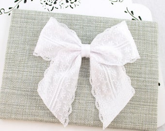White Lace Bow, 12 Colors to Choose, White Satin Bow, White Large Lace Bow, 4 Inch Bow, White Lace Boutique Bow, Flower Girl Bow, Wholesale