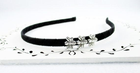Abeille bandeau des femmes, 12 couleurs disponibles, argent bandeau perlé pour les femmes, noir bandeau de tous les jours, accessoire de coiffure de la femme Casual abeille