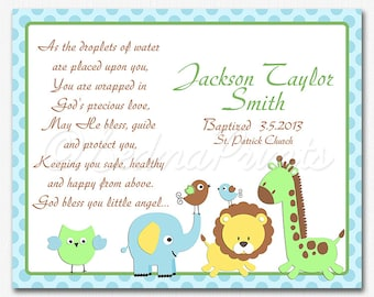 Baptism gift - 8x10 - Christian art, Christening gift for boys, As the droplets of water,  pray, elephant, giraffe, lion, birds -  UNFRAMED