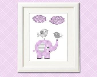 Purple and grey nursery Art Print , baby girl wall art, Children art, baby  wall decor, elephant, birds - UNFRAMED