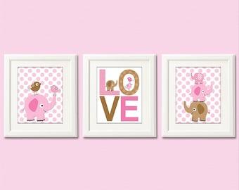 Pink and brown elephant nursery art print set, baby girl Art Print Set - 8x10 - baby girl wall art decor, polka dot, love, birds - UNFRAMED