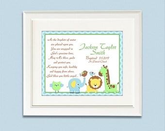 Baptism gift - 11x14 - Chtistian art, Christening gift for boys, As the droplets of water,  pray, elephant, giraffe, lion, birds -  UNFRAMED