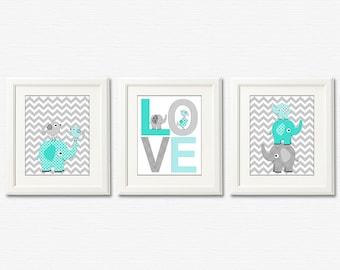 Aqua and grey Nursery Art Print Set - 5x7 - Baby boy Room Decor, chevron, love, elephants, love birds - UNFRAMED