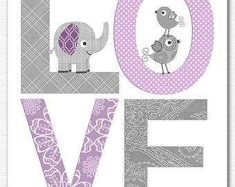Purple and grey love nursery Art Print , baby girl wall art, Children art, baby  wall decor, elephant, birds - UNFRAMED