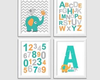 Teal and orange elephant nursery Art Print Set, Kids room wall decor, baby boy wall print, chevron, alphabet, numbers, birds - UNFRAMED