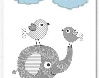 Light blue and grey baby boy wall art print , nursery Art Print - grey, gray, elephant, boys wall decor, birds -UNFRAMED