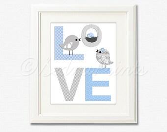 Blue and grey LOVE nursery Art Print - 8x10 - Children wall art, Baby boy Room Decor, love birds - UNFRAMED