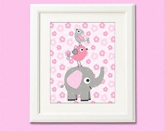 Pink and grey  nursery Art Print - 8x10 - baby girl room, Baby Room Decor, kids room decor, flower, elephant, love birds  - UNFRAMED