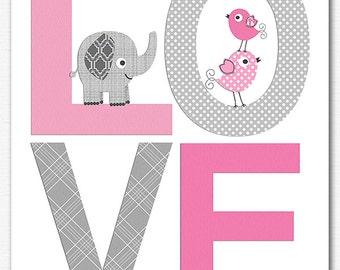Pink and grey love nursery Art Print - 8x10 - Children wall art, Baby girl Room Decor, pink, gray, elephant, birds - UNFRAMED