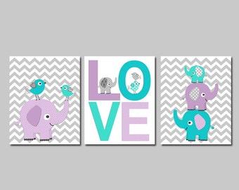 Turquoise, purple and aqua elephant Nursery Art Print Set, Baby boy Room Decor, chevron, love, elephants, love birds - UNFRAMED