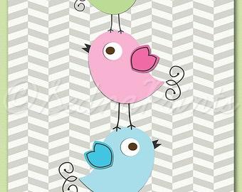 pink blue and green love birds nursery art print - 8x10 - Children wall art, baby girl, pink, aqua, green,stacked birds  -  UNFRAMED