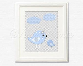 Blue and grey nursery Art Print - 8x10 - Children wall art, Baby boy Room Decor, love birds - UNFRAMED