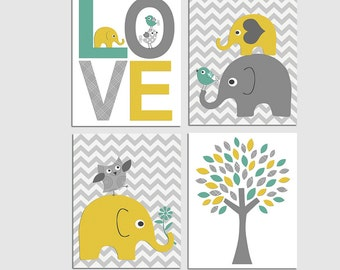Teal and yellow elephant nursery Art Print Set, Kids room wall decor, baby boy wall print, chevron, alphabet, numbers, birds - UNFRAMED
