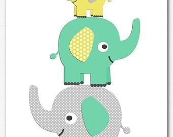 Mint, yellow and grey nursery Art Print , neutral gender wall art, Children art, baby  wall decor, elephant, birds - UNFRAMED