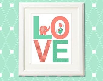 Coral and mint nursery Art Print , baby girl wall art, Children art, baby  wall decor, elephant,  neutral gender, birds - UNFRAMED