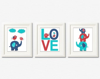 Turquoise navy and red elephant Nursery Art Print Set , Baby Boy Room Decor,  kids wall art, baby elephant, love, birds - UNFRAMED