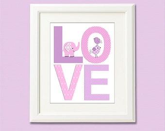 pink and purple love print, nursery Art Print - 8x10 - Chevron, Children wall art, baby girl wall decor, lilac, elephant, birds - UNFRAMED