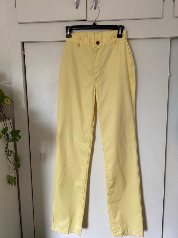 Vintage Levis Big E Rainbow Tag Pastel Yellow Pan… - image 2