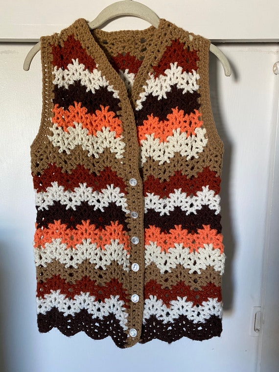 1960's-70's Vintage Zig Zag Crochet Vest - image 3