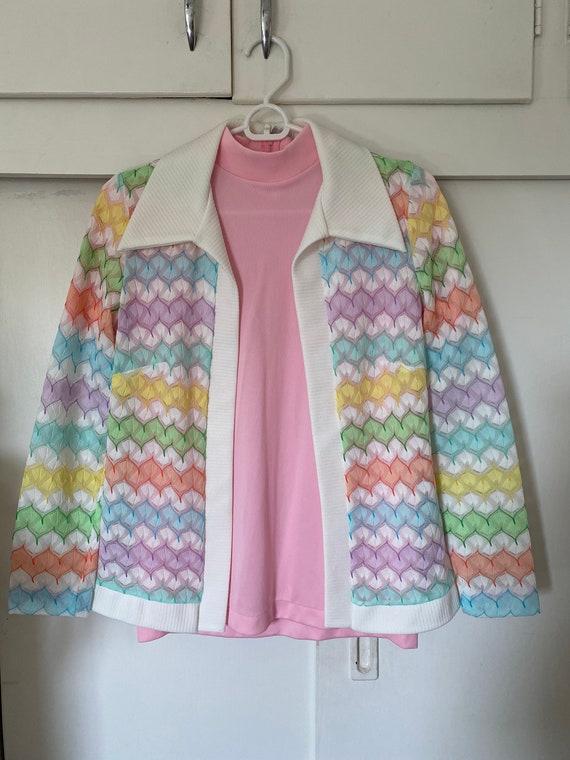 1970's Vintage Pastel Zigzag Knit Sweater Shirt S… - image 3