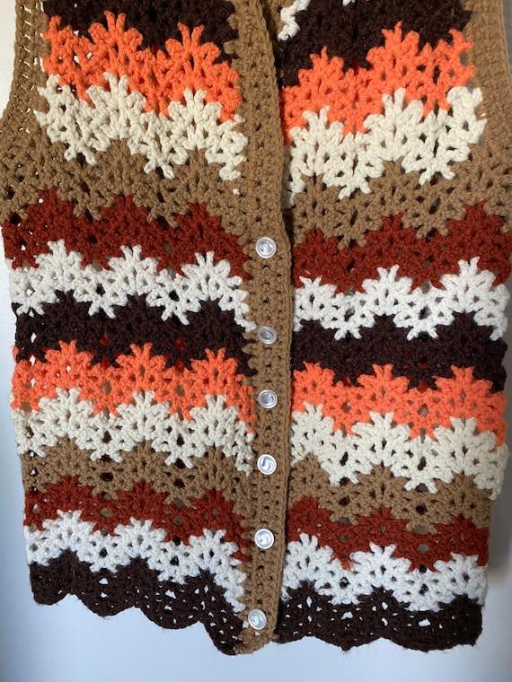 1960's-70's Vintage Zig Zag Crochet Vest - image 4