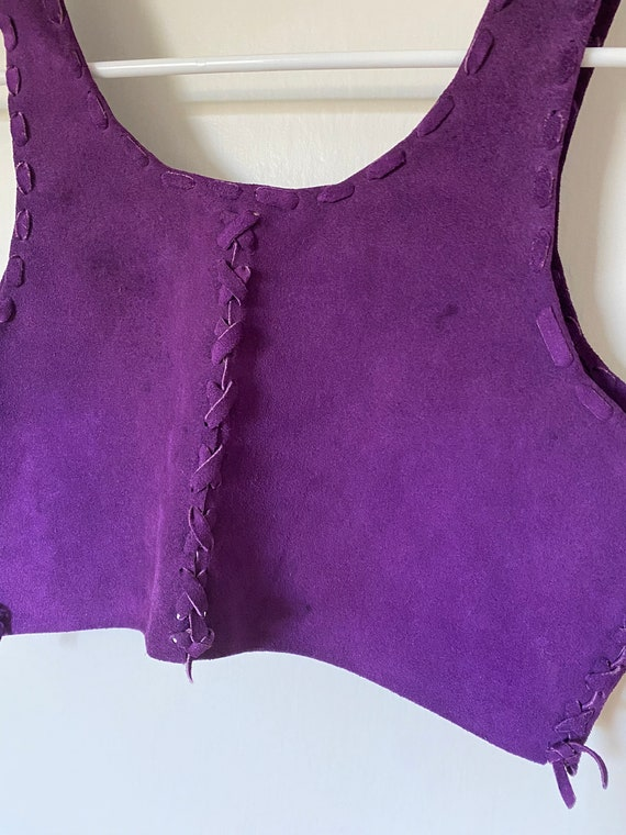 1970's Vintage Purple Leather Suede Lace Up Corse… - image 7