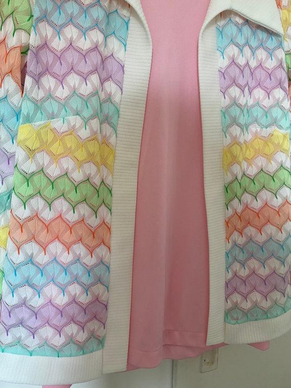 1970's Vintage Pastel Zigzag Knit Sweater Shirt S… - image 4