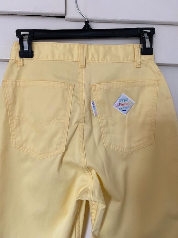 Vintage Levis Big E Rainbow Tag Pastel Yellow Pan… - image 5