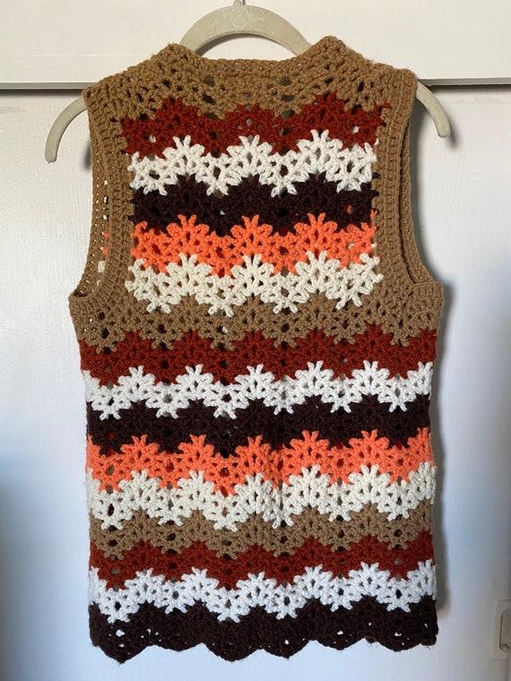 1960's-70's Vintage Zig Zag Crochet Vest - image 5
