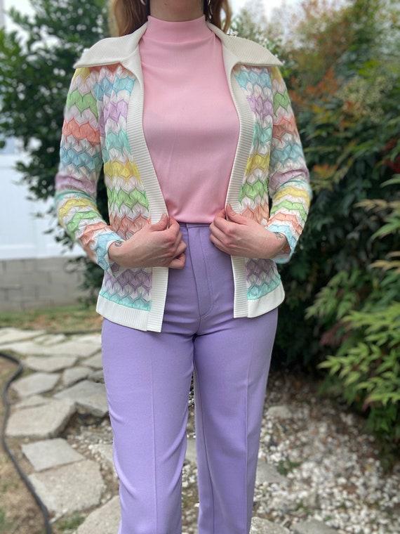 1970's Vintage Pastel Zigzag Knit Sweater Shirt S… - image 2