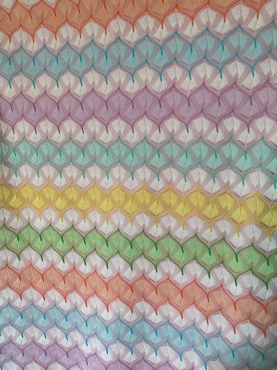1970's Vintage Pastel Zigzag Knit Sweater Shirt S… - image 6