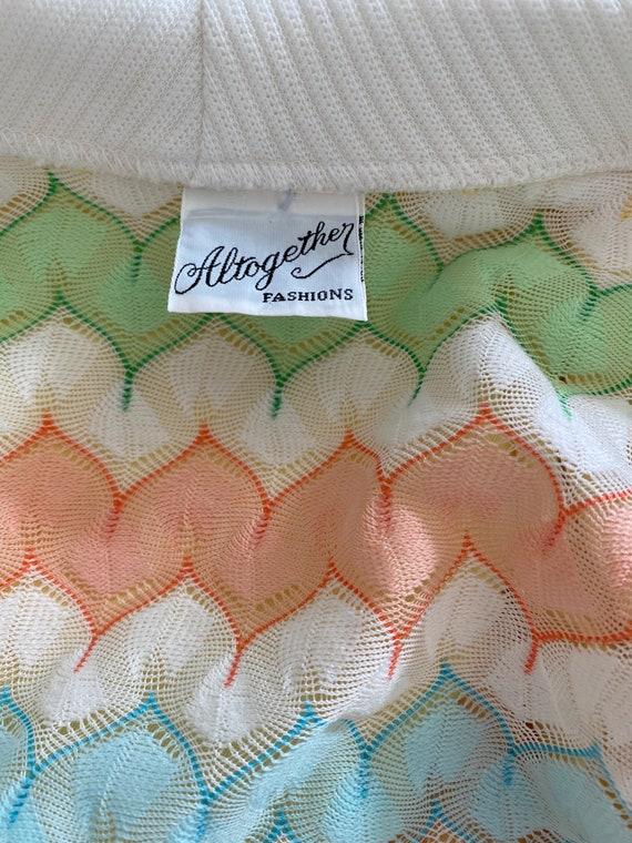 1970's Vintage Pastel Zigzag Knit Sweater Shirt S… - image 7