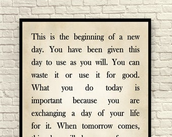 Custom Quote This Is The Beginning Of A New Day Art Print Etsy