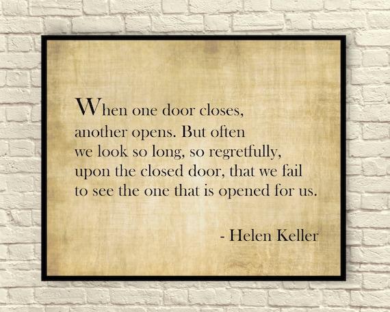 Helen Keller Quote When One Door Closes Another Opens Etsy