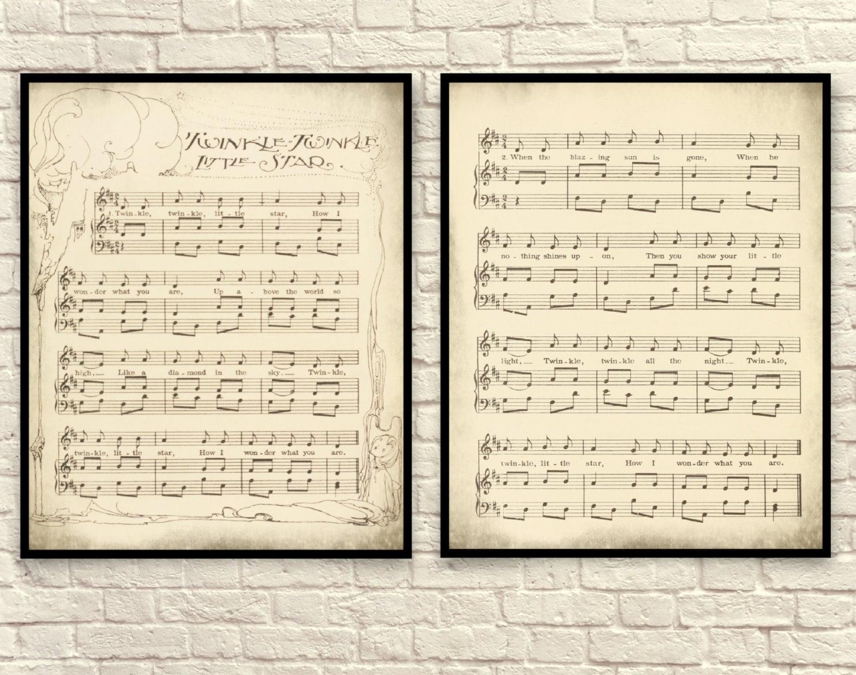 Sheet Music Art, Nursery Rhyme, Sheet Music Wall Art, Children's Art, Sheet  Music Art Print, Twinkl Twinkle Little Star, Shabby Chic