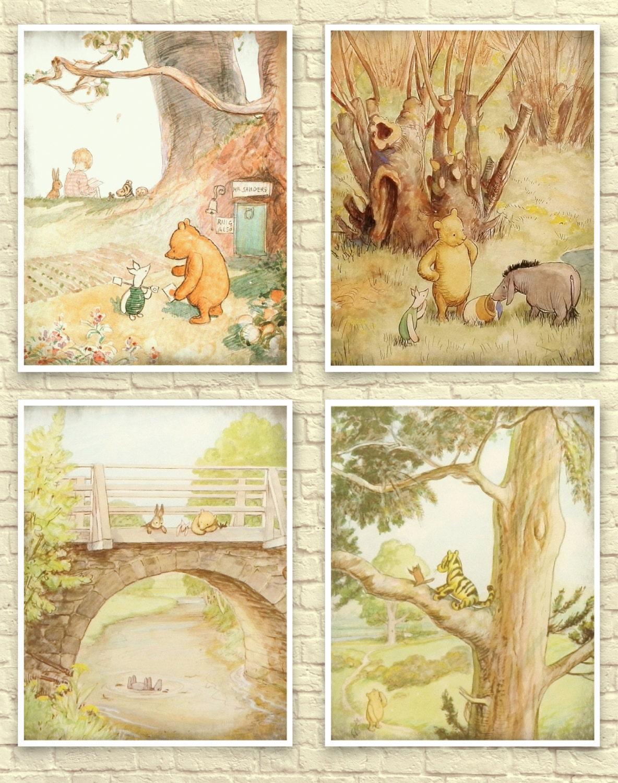 Classic Winnie The Pooh Wall Art Winnie the Pooh Art Print   Etsy