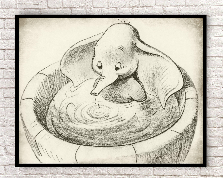 Dumbo, Dumbo Wall Art, Dumbo Art Prints, Vintage Dumbo Prints, Vintage  Dumbo Drawings, Dumbo Vintage Production Drawing, Elephants,