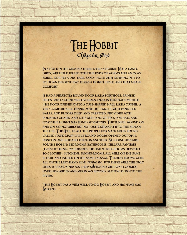The Hobbit Art Print The Hobbit Wall Art Book Page Art | Etsy