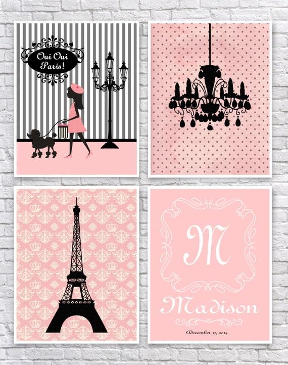 Nursery art Baby room decor French decor nursery wall art Paris Metro Shabby chic Vintage style nursery Pink Green Aqua Mint Umbrella Bike
