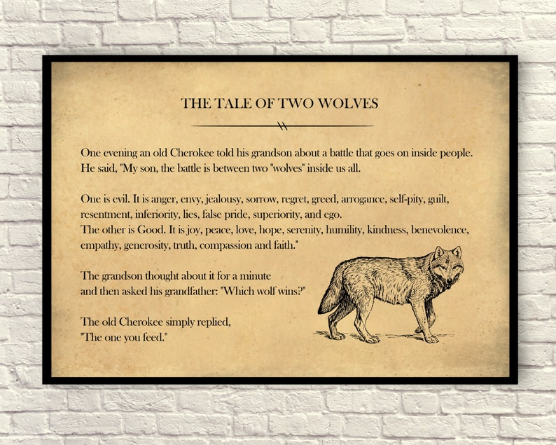 Custom Print  Tale of Two Wolves, Book Page Print, Book Page Art, Book Page  Quote, Cherokee Tale, Native American Story, Farmhouse Style