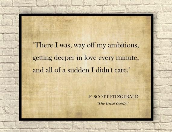 The Great Gatsby Art Print F Scott Fitzgerald Quote Custom Etsy