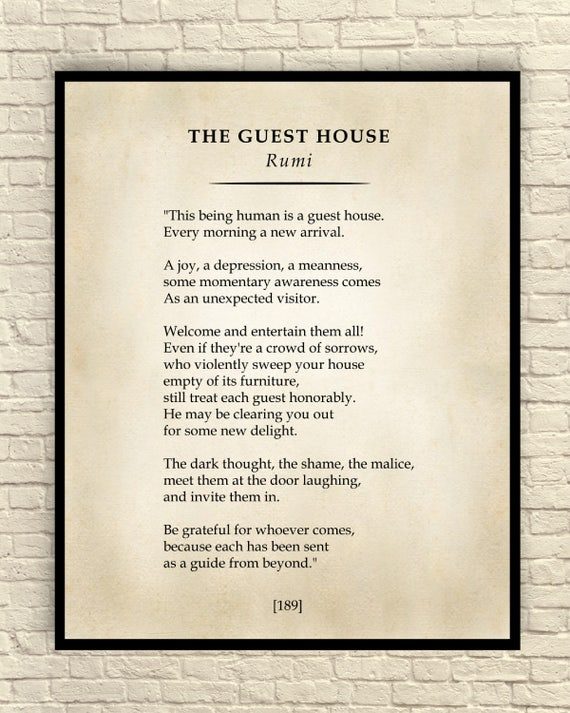 The Guest House Poem Classic Poem Art Print Poetry Wall Art