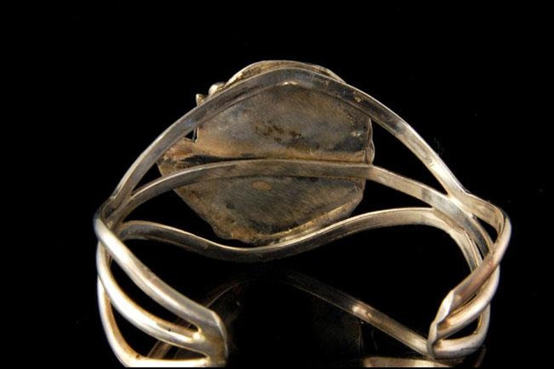 Vintage Navajo malachite sterling leaf cuff bracelet