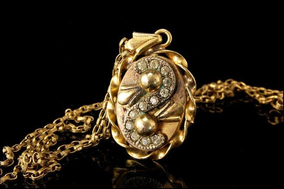 Antique Victorian Paste Gold Filled Pendant Neckl… - image 2