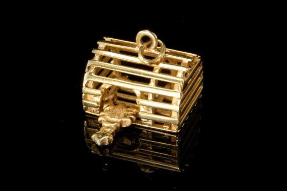 Vintage 14k yellow gold lobster trap lobster movab