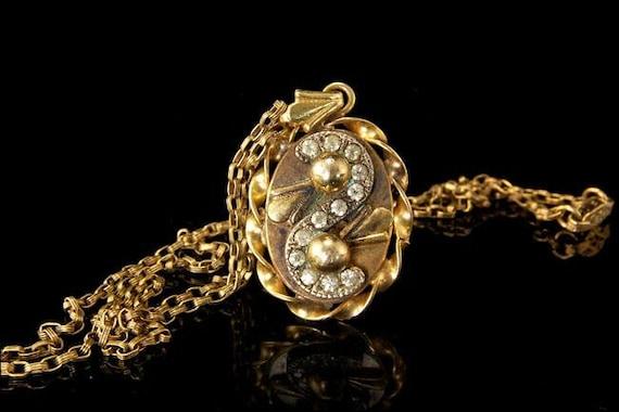 Antique Victorian Paste Gold Filled Pendant Neckl… - image 1
