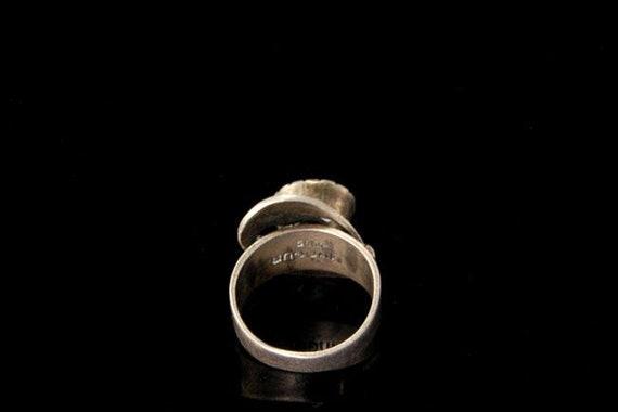 vintage ruby paste sterling silver ring - image 4