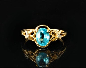 Vintage blue topaz diamond 14k gold ring