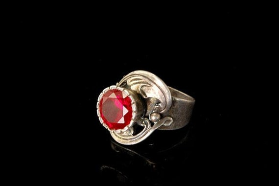 vintage ruby paste sterling silver ring - image 1